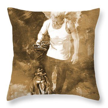 Throw Pillow featuring the painting Puppet Show by Gull G