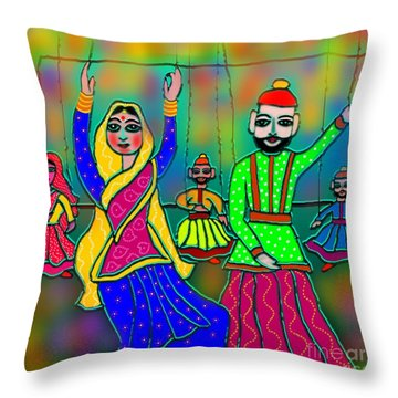 Puppets Throw Pillow by Latha Gokuldas Panicker