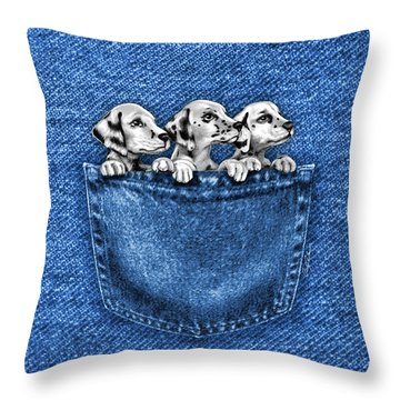 Puppies In A Pocket Throw Pillow by Cindy Anderson