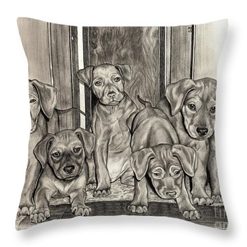Puppies  Throw Pillow