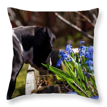Puppy And Flowers Throw Pillow