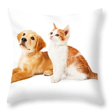 Puppy And Kitten Looking To Side Throw Pillow