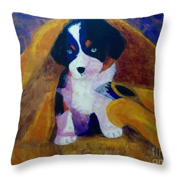 Throw Pillow featuring the painting Puppy Bath by Donald J Ryker III