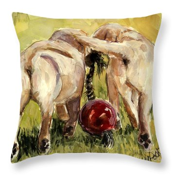 Puppy Butts Throw Pillow by Molly Poole