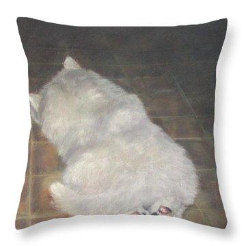 Puppy Feet Throw Pillow by Elizabeth Ellis