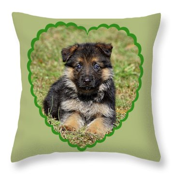 Puppy In Heart Throw Pillow by Sandy Keeton