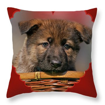 Puppy In Red Heart Throw Pillow