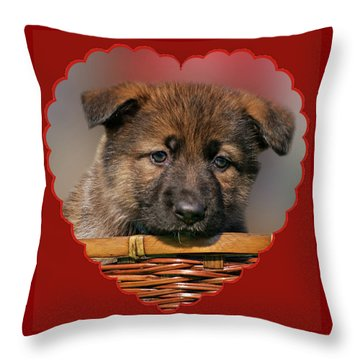 Puppy In Red Heart Throw Pillow by Sandy Keeton