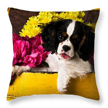 Puppy In Yellow Bucket  Throw Pillow by Garry Gay