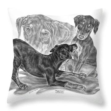 Puppy Love - Doberman Pinscher Pup Throw Pillow