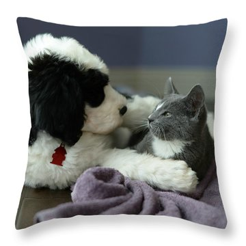 Throw Pillow featuring the photograph Puppy Love by Linda Mishler