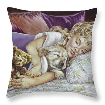 Puppy Love Throw Pillow by Richard De Wolfe