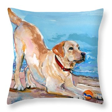 Puppy Pose Throw Pillow by Molly Poole
