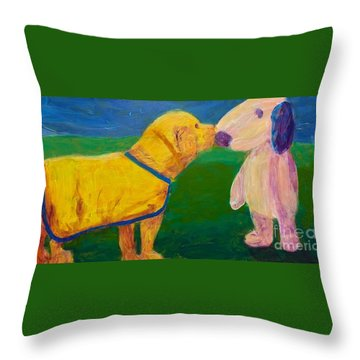 Throw Pillow featuring the painting Puppy Say Hi by Donald J Ryker III