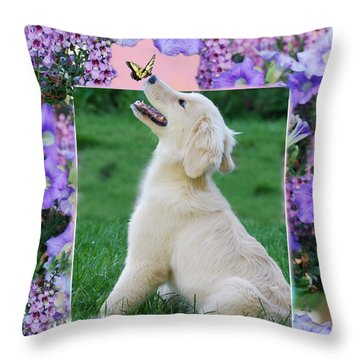 Throw Pillow featuring the photograph Puppy's World by Lila Fisher-Wenzel