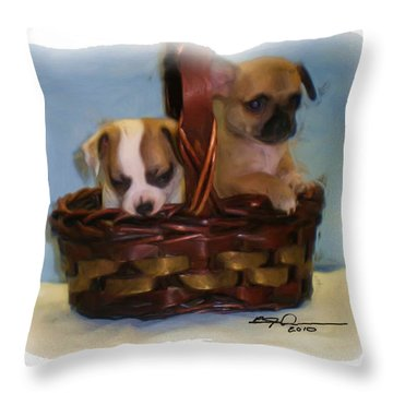 Pups In A Basket Throw Pillow by Beverly Johnson
