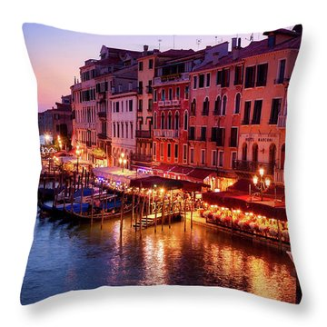 Cityscape From The Rialto In Venice, Italy Throw Pillow
