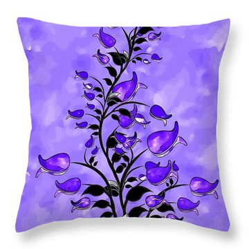 Purple Abstract Flowers Throw Pillow