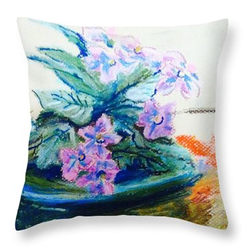 Purple  African Violet  Throw Pillow by Hae Kim