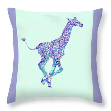 Purple And Aqua Running Baby Giraffe Throw Pillow by Jane Schnetlage