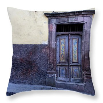 Purple And Blue Door Mexico Throw Pillow
