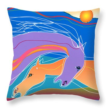 Throw Pillow featuring the digital art Purple And Gold by Mary Armstrong