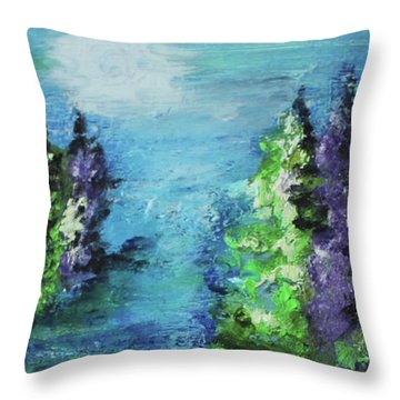Throw Pillow featuring the painting Purple And Green by Kim Nelson