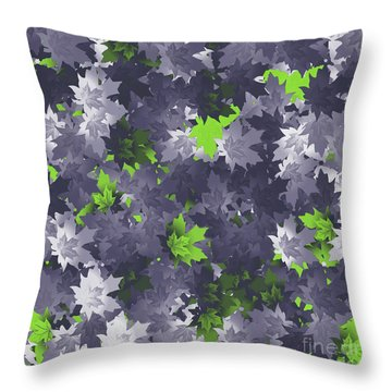 Throw Pillow featuring the digital art Purple And Green Leaves by Methune Hively