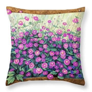 Purple And Pink Flowers Throw Pillow