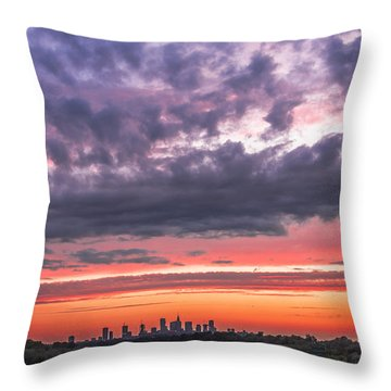 Purple And Red Sky Over Warsaw And Vistula River Throw Pillow