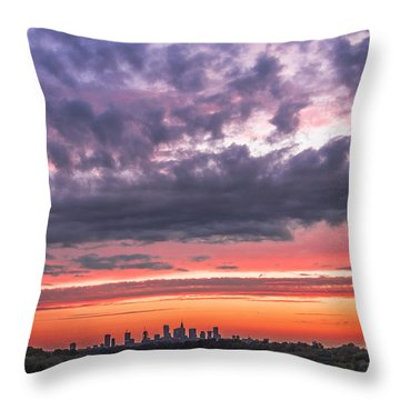 Throw Pillow featuring the photograph Purple And Red Sky Over Warsaw And Vistula River by Julis Simo