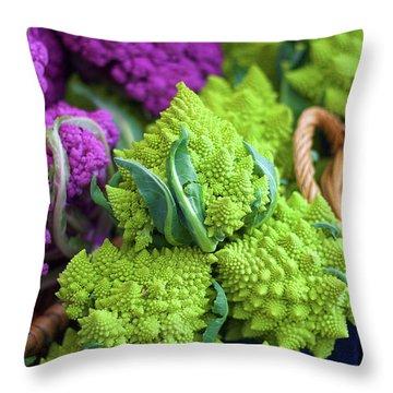 Purple And Romanesco Cauliflower Throw Pillow