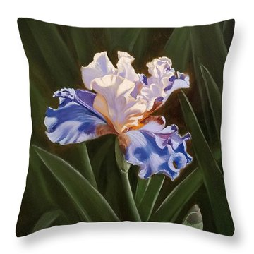 Purple And White Iris Throw Pillow