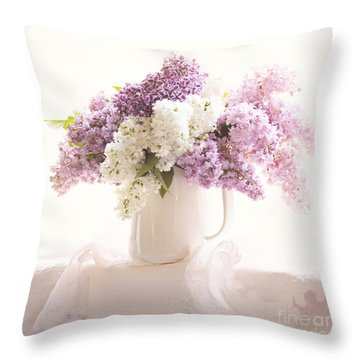 Throw Pillow featuring the photograph Purple And White Lilacs Still Life by Sylvia Cook