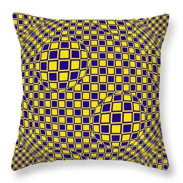 Purple And Yellow Sphere Untitled Throw Pillow
