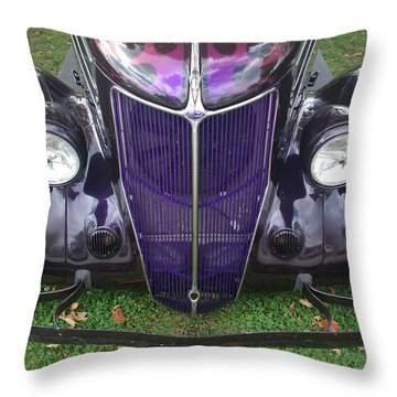 Purple Antique Ford Throw Pillow by Kathy M Krause