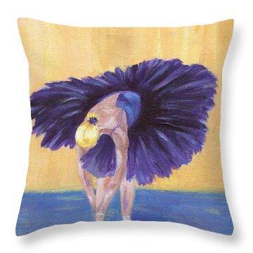 Throw Pillow featuring the painting Purple Ballerina by Jamie Frier