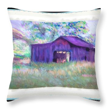 Purple Barn With Frame Throw Pillow