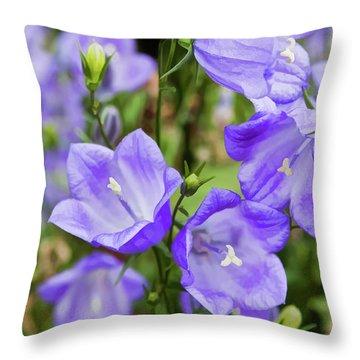 Purple Bell Flowers Throw Pillow by Joann Copeland-Paul