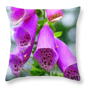 Purple Bells Throw Pillow by Marty Koch