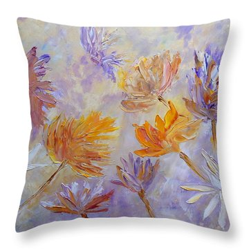 Throw Pillow featuring the painting Purple Blaze by Angeles M Pomata