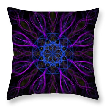 Throw Pillow featuring the photograph Purple Blue Kaleidoscope Square by Adam Romanowicz