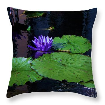 Purple Blue  Lily Throw Pillow by Eric  Schiabor