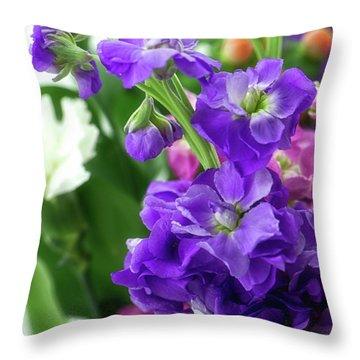 Purple Bouquet Throw Pillow