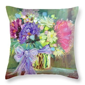 Throw Pillow featuring the painting Purple Bow by Rosemary Aubut