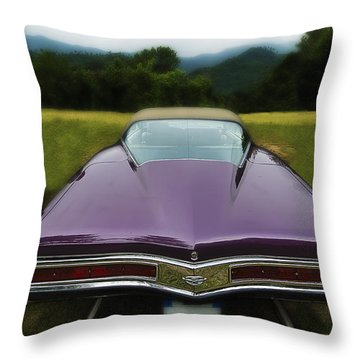 Purple Buick Vintage Car Throw Pillow