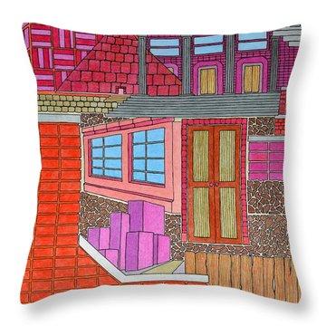 Purple Buildings Throw Pillow