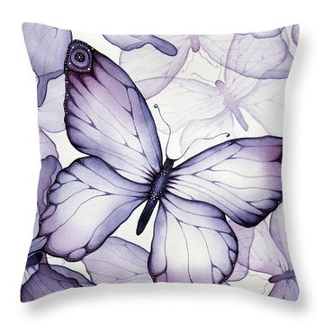 Purple Butterflies Throw Pillow by Christina Meeusen