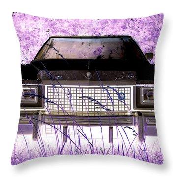 Purple Cadillac Throw Pillow by Julie Niemela