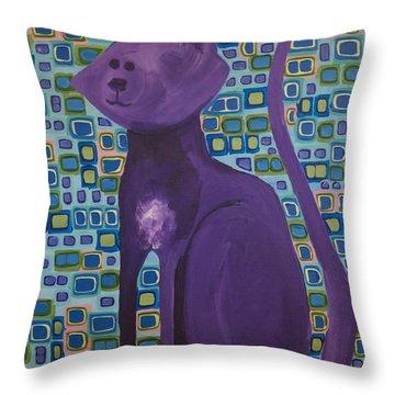 Purple Cat Throw Pillow